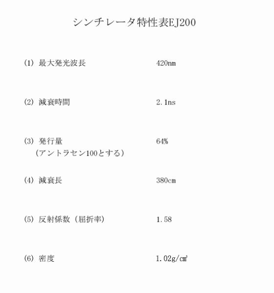 シンチレータ特性表EJ200